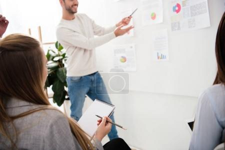 partial view of businessman presenting marketing strategy at business meeting in office