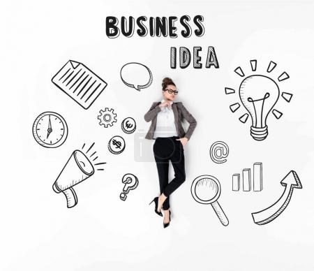 creative collage of stylish young businesswoman with various business icons and business idea sign