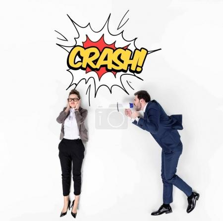 creative collage of boss shouting at manager with loudspeaker, crash comic style sign