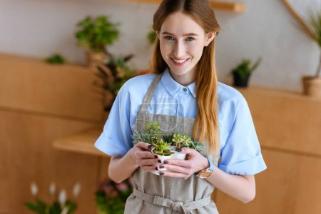 beautiful young florist in apron holding succulents in pots and smiling at camera in flower shop