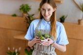 belle jeune fleuriste en tablier tenant des plantes grasses en pots et souriant à la caméra à la boutique de fleurs