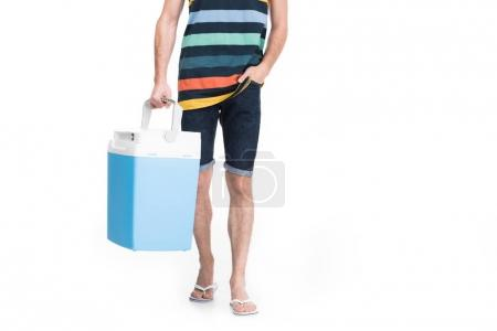 cropped view of man holding cooler box, isolated on white