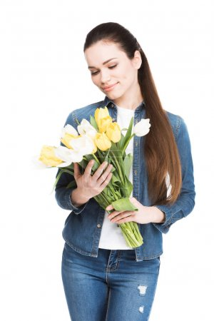 beautiful young woman with bouquet of tulips, isolated on white