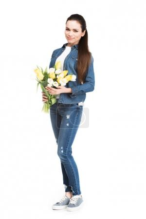 brunette woman with bouquet of tulips for 8 march, isolated on white