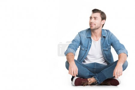 Photo for Handsome smiling man in denim, isolated on white - Royalty Free Image