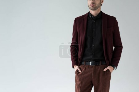 Photo for Cropped view of man posing in stylish trendy suit, isolated on grey - Royalty Free Image