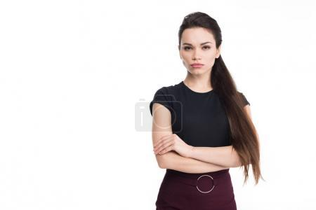Photo for Attractive woman posing with crossed arms, isolated on white - Royalty Free Image