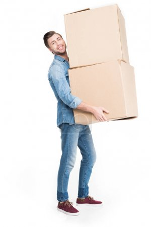 man relocating with carton boxes, isolated on white