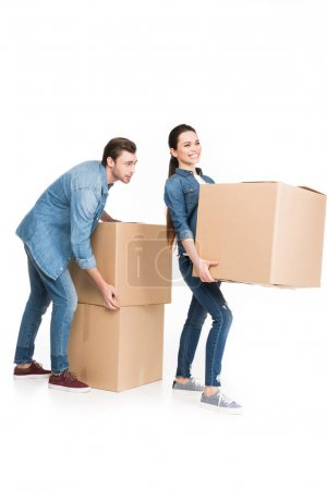 young couple relocating with carton boxes, isolated on white
