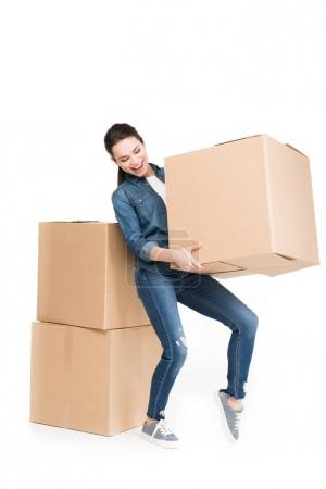 Photo for Woman moving with cardboard boxes, isolated on white - Royalty Free Image