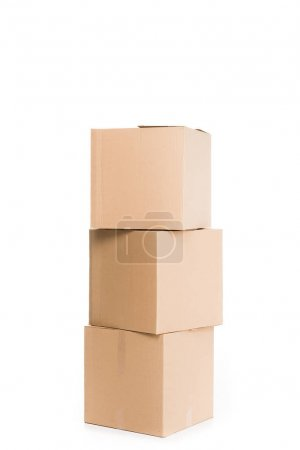 Photo for Stacked cardboard boxes, isolated on white - Royalty Free Image