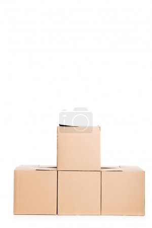 Photo for Stack of cardboard boxes, isolated on white - Royalty Free Image