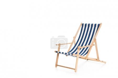 Photo for One striped beach chair, isolated on white - Royalty Free Image