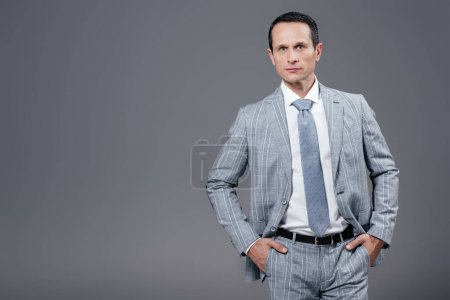 handsome adult businessman in stylish suit looking at camera isolated on grey
