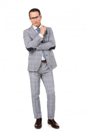 handsome adult businessman in stylish suit isolated on white
