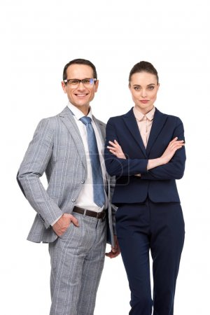 successful adult business colleagues looking at camera isolated on white