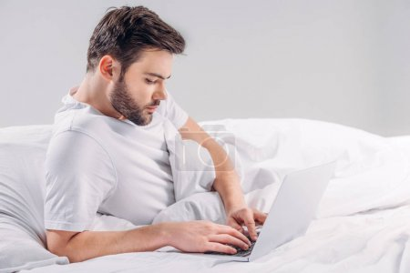 side view of focused bearded man using laptop in bed isolated on grey