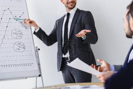cropped image of businessman presenting project to colleagues in office