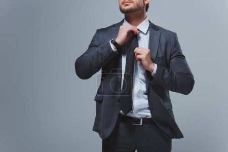 cropped image of businessman fixing tie isolated on grey
