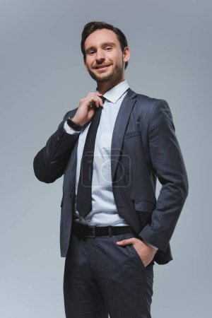 Photo for Smiling handsome businessman fixing tie isolated on grey - Royalty Free Image