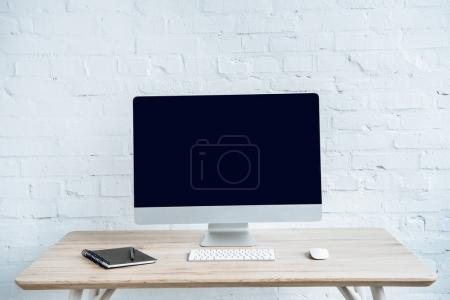 Photo for Modern work space with computer screen and keyboard on table - Royalty Free Image