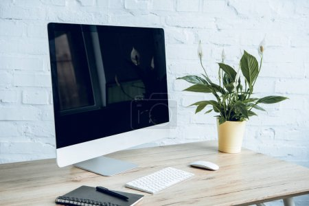 Photo for Workplace with computer screen and plant on table - Royalty Free Image