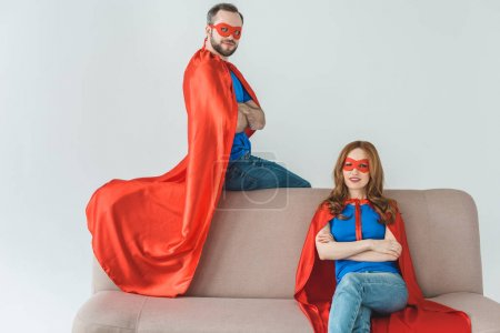 Superheroes on couch