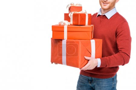 cropped shot of man holding gift boxes isolated on white