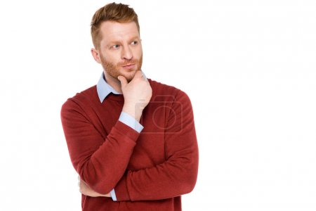 Photo for Handsome bearded man with hand on chin looking away isolated on white - Royalty Free Image