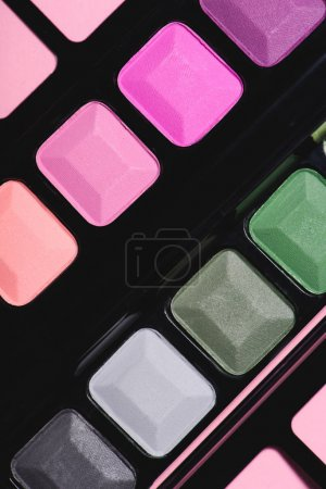 full frame shot of various makeup eyeshadows palette