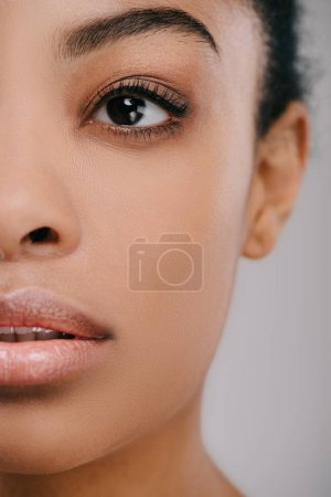Photo for Cropped shot of beautiful young woman isolated on grey - Royalty Free Image