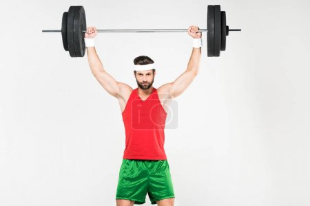 strong sportsman exercising with barbell, isolated on white
