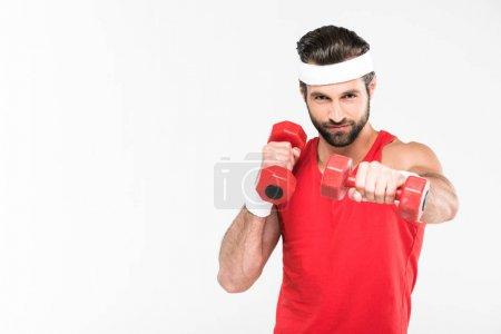 Photo pour Barbu sportif Sportswear rétro exercice avec des haltères, isolés sur blanc - image libre de droit