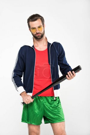 baseball player in retro sunglasses with baseball bat, isolated on white