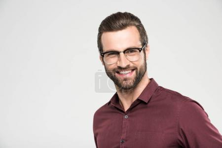 Photo for Portrait of handsome cheerful man in eyeglasses, isolated on grey - Royalty Free Image