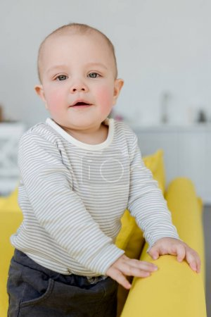 adorable little baby boy on sofa at home