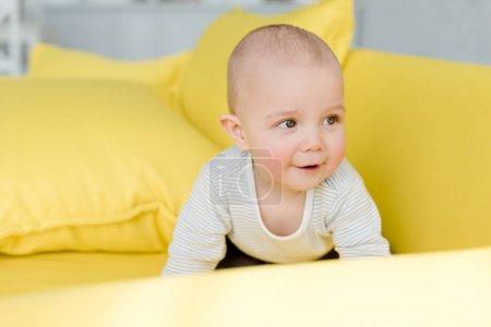 adorable little baby boy on yellow sofa