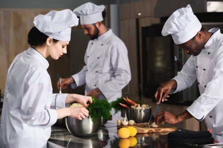 Multiracial team of cooks cooking by kitchen stove in restaurant