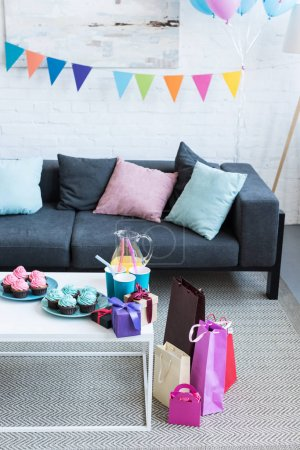 balloons and gift boxes in room, baby-party concept