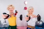 sportive senior ladies exercising with resistance bands and smiling at camera