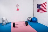 american flag, barbell, boxing gloves, fit balls and tape recorder in gym