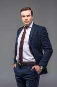 handsome businessman in formal wear with hands in pockets, isolated on grey