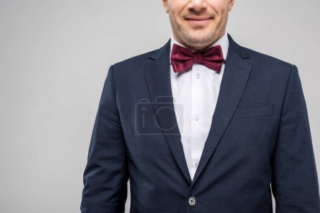 cropped view of man in tuxedo and bow tie, isolated on grey