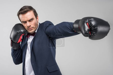 handsome man in suit and bow tie wearing boxing gloves, isolated on grey