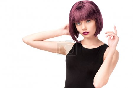 Young stylish woman with purple hair