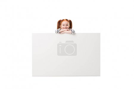 little girl with blank banner