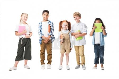 Multiethnic children with textbooks