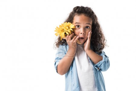 african american girl with flowers