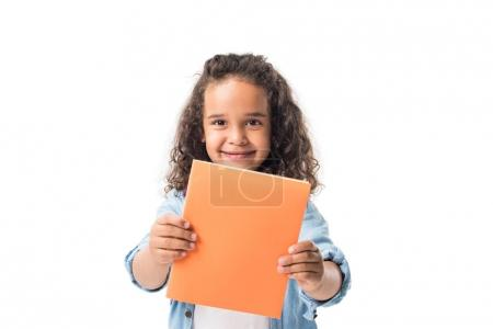african american schoolgirl with textbook