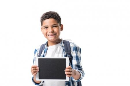 African american boy with digital tablet